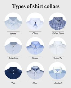 Types of shirt collars.  #Aim2Win