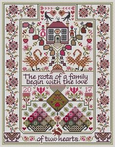 The Love of Two Hearts | Size in stitches:  153 x 197 Price:  £12.60
