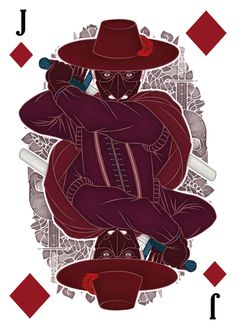 The Three Musketeers character The Executioner of Lille depicted as the Jack of Diamonds by karinyan