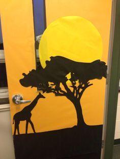 African art inspired door/bulletin board as part of Africa study