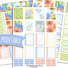 Elephant PRINTABLE Planner Stickers for Erin Condren Vertical | Sticker Printables | Happy Planner Stickers | Summer | Elephant Stickers