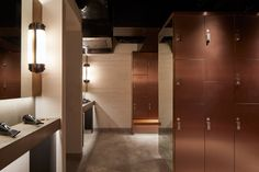 Stock Photo - Changing room with lockers and styling area. Hotel Gym, Changing Room, Gym Design, Group Fitness, Lockers, Locker Storage, Stock Photos, House, Climbing Wall
