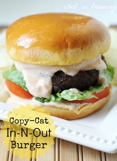 "Don't think you could ever ""really"" copycat the in-N-out burger but its worth a try! Copy-Cat In-N-Out Burger. this burger is DELICIOUS! The sauce is absolutely incredible! Copycat Recipes, Beef Recipes, Cooking Recipes, Cooking Tips, Cooking Photos, Burger Recipes, Hamburgers, Cheeseburgers, Empanadas"