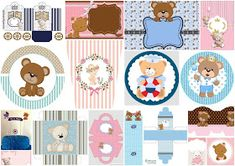 Oh My Baby!: Teddy Bear for Boys: Free Printable Mini Kit. Free Printable Invitations, Party Printables, Free Printables, Baby Boy Shower, Baby Shower Parties, Baby Shower Themes, Shower Ideas, First Birthday Party Decorations, Party Themes