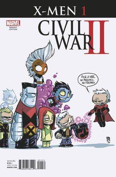 Skottie Young: X-Men Civil War II variant cover Marvel Comics, Chibi Marvel, Chibi Superhero, Deadpool Chibi, Flash Comics, Cosmic Comics, Skottie Young, Comic Book Artists, Comic Books Art