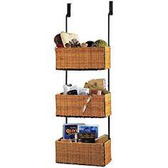 Over the Door Rack with 3 Baskets, Brown