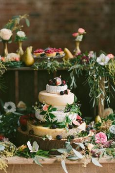My wedding cheese cake will look similar to this. I will pick some local flowers and add a cut up lemon to decorate..