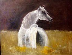 Arabian white Mare  Oil over canvas