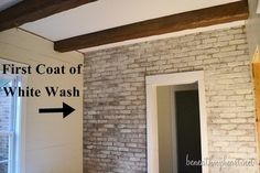 How to white wash brick. Mix equal parts paint and water. Do one coat at a time until it's as white as you want it. More natural looking than straight up paint.  SW Natural Choice for white.