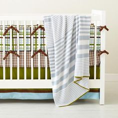 Land of Nod baby bedding - love the mix of stipes, dots, and plaids