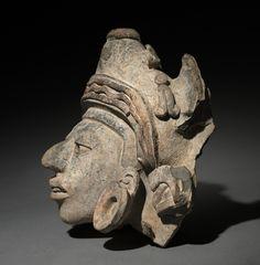 Urn Figure Head Fragment, c. 200-500 Mexico, Oaxaca, Zapotec