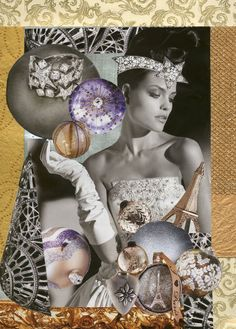 """""""Christmas Baubles"""" collage art created from decorative papers, fashion ads and catalog pages"""