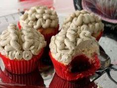 Receta de Cupcakes Cerebros | Deliciosos cupcakes en forma de cerebro, ideales para las fiestas de Halloween, prepáralos y organiza la mejor fiesta de disfraces.