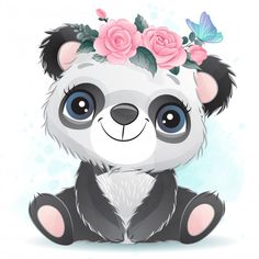 Cute Baby Panda With Floral Baby Panda Pictures, Cute Pictures, Baby Animal Drawings, Cute Drawings, Panda Mignon, Baby Animals, Cute Animals, Cute Cartoon Animals, Wild Animals