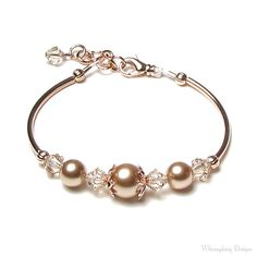 Rose Gold Swarovski Crystal and Pearl Adjustable Bracelet, Modern, Neutral Beige, Gift for Women, Trending, Classic Wedding Bridal Jewelry on Etsy, $32.68 CAD