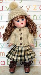 "**Warm For Winter**...a 3 PC Outfit for 7.5"" Vogue Ginny Dolls. Consists of the hand knitted sweater in a mohair blend, the fuzzy hat with cute pom-pom, and the pleated, plaid skirt. A sweet outfit to keep your Ginny or Muffie doll warm for winter! One set IN STOCK now at my website. Click the pix."