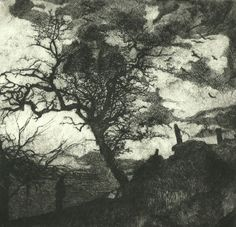 """""""I SAW THE LIGHT DECAY"""" drypoint by Bruno Cavellac 21,5 cm x 21,5cm"""