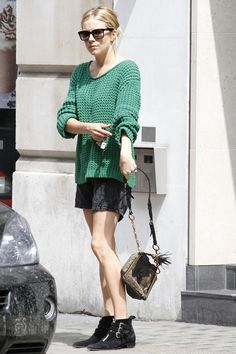 Sienna Miller sweater and skirt look