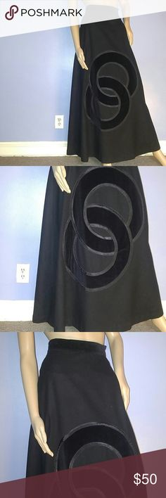 """Vintage Black Wool and Velvet Maxi Skirt Vintage Black Wool Blend Maxi Skirt with Velvet Like Accents. A Real Vintage Beauty ! Stunning Condition! Fully Lined Back Zipper and Button Closure Length: 43"""" Waist : 27 Velvet Waist and Infinity Circle Design on Front. Label: Cottage Tailor A Lovely...Lovely Skirt. Vintage Skirts Maxi"""