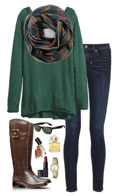 """""""plaid scarf"""" by kaley-ii liked on Polyvore featuring rag & bone, H&M, Tory Burch, Ray-Ban, Marc Jacobs, Bobbi Brown Cosmetics, Kate Spade and NARS Cosmetics"""