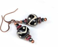 Black and White Bead Earrings, African Tribal Earrings, Bohemian Boho Earrings, Wood Bead, Copper Be Tribal Earrings, Bead Earrings, Etsy Earrings, Handcrafted Jewelry, Unique Jewelry, Handmade, White Gift Boxes, White Beads, Jewelry Crafts