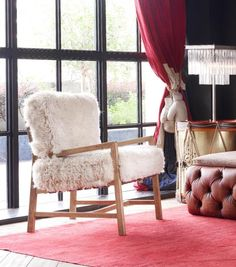 Step out of your comfort zone and into the unnervingly wild Yeti. Sheepskin from longhaired New Zealand sheep is upholstered by hand onto a rustic wooden base. Get in touch with your primal urges and let loose. Living Room, Furniture, Room, Interior, Chair, Home Decor, Dining Chairs, Elegant Interiors, Modern Decor