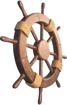 Rustic Wood Rope Ship Wheel $50.00.  Beautiful addition to nautical decor!