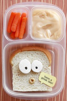 "From the very creative Lisa Storms ""I just cut off the crust from the sides and bottom beginning where the loaf dips in. I wanted him to ""talk"" so I added a Cheerio for an open mouth. The speech bubble is just punched cardstock. The eyes are slices of marshmallow with edible marker."""