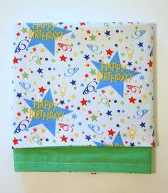 Reversible birthday cloth napkin- happy birthday stars!  from annezeitler.etsy.com