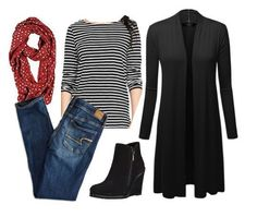 Today's outfit pairs skinny jeans with a striped long-sleeve top and long cardigan, accented with burgundy infinity scarf and black wedge booties. Black Cardigan, Long Cardigan, Fall Fashion Outfits, Autumn Fashion, Heutiges Outfit, Up Costumes, Fashion Over 50, Costume Design, Capsule Wardrobe