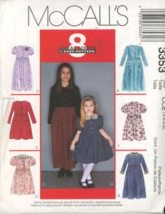 McCall's 3353 Girls' Dress with Pockets or Collar - 8 looks Sz 3-6 UNCUT - Sewing Patterns