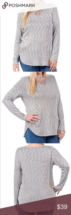 """Plus Crisscross Cutout Tunic """"Plus - Grey Crisscross Cutout Tunic"""" with gold thread throughout   52% POLY 47% COTTON 1% SPAN / Made in the USA / Size 1X is 28"""" long from high point of shoulder to hem Bellino Clothing Tops Tunics"""