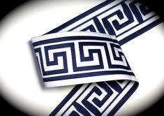 Items similar to Woven Jacquard Ribbon Greek Key Trim - 1 x 1 yard Navy Blue and White on Etsy Cream Curtains, Skull And Crossbones, Greek Key, Blue And White, Navy Blue, Ribbon Bows, Damask, Weaving, Handmade Gifts