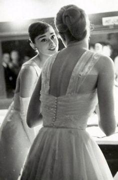 "fawnvelveteen: "" Audrey Hepburn and Grace Kelly in 1956 """