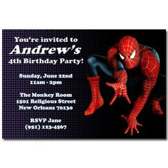 Free Printable Spiderman Birthday Invitations