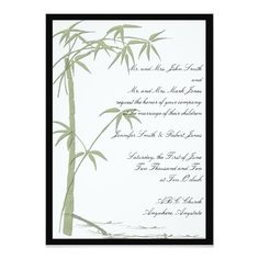 Bamboo Beauty 5x7 Wedding Invitations. Artwork designed by NoteableExpressions.