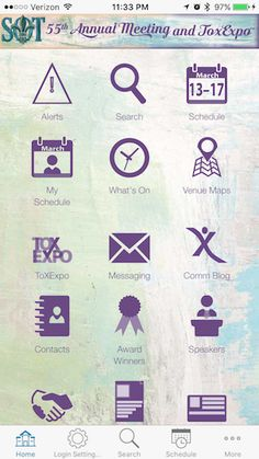 Customized home screen with unique icons designed for the specific medical meeting in the EventPilot conference app.