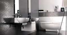 Great Bathroom Ideas with Grey Modern Wall Tiles Stone Bathroom, White Bathroom, Tiny Bathrooms, Amazing Bathrooms, Modern Bathrooms, Bad Inspiration, Bathroom Inspiration, Bathroom Store, Best Bathroom Designs