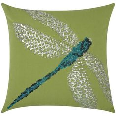 Mina Victory Beaded Dragonfly Outdoor Throw Pillow 200 Liked On Polyvore Featuring Home