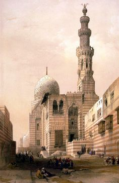 Mosque of the Sultan Kaïtbey (Tombs of the Khalifs), Cairo by David Roberts Egypt Art, Old Egypt, Ancient Egypt, Egyptian Artwork, Arabian Art, Islamic Paintings, Kairo, Amazing Paintings, North Africa