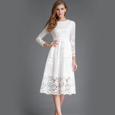New 2016 Summer Fashion Hollow Out Elegant White Lace Elegant Party Dress High Quality Women Long Sleeve Casual Dresses H016