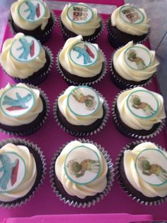 Chocolate and vanilla children's party cupcakes