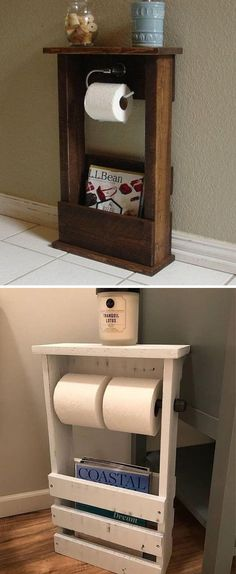 Use Pallet Wood Projects to Create Unique Home Decor Items – Hobby Is My Life Wooden Pallet Crafts, Outdoor Pallet Projects, Wooden Pallets, Wood Projects, 1001 Pallets, Pallet Wood, Wooden Toilet Paper Holder, Bathroom Toilet Paper Holders, Toilet Paper Crafts