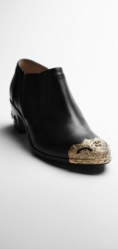 Calfskin short boots with metal... - CHANEL