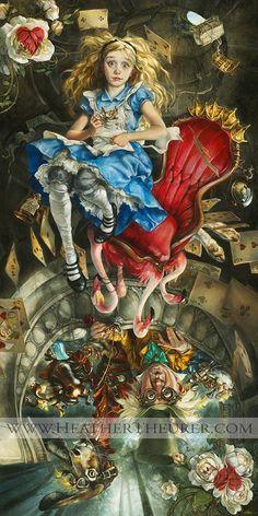 Alicia en el país de las maravillas en una ilustración de una pintura clásica