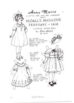 Anne Maria, a Little Girl and Her Wardrobe from McCall's Magazine Feb 1916, paper doll by Pat Stall (1 of 2) | Marges8's blog