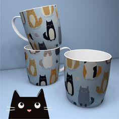 Tazas de cerámica en nuevos diseños de gatitos variados para los mejores desayunos. #tazas #gatos #catlovers