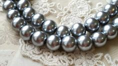 8 mm Silver Grey Color Glass Pearl Beads .mtgs by CarmanTreasures