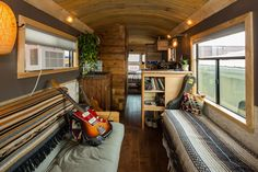 Builder Charlie Kern's customized living spaces give new meaning to the term 'mobile homes.' It's a converted school bus. Bus Living, Tiny House Living, Living Spaces, School Bus House, School Buses, Transformers, Converted Bus, Tiny Spaces, Tiny House Design