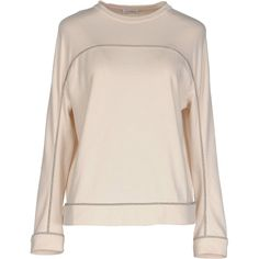 Brunello Cucinelli T-shirt (£320) ❤ liked on Polyvore featuring tops, t-shirts, beige, long sleeve jersey t shirts, long sleeve cotton tees, pink jersey, long sleeve tops and long sleeve t shirts